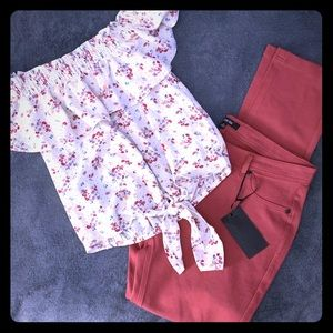 Other - Off shoulder blouse and stretch pants
